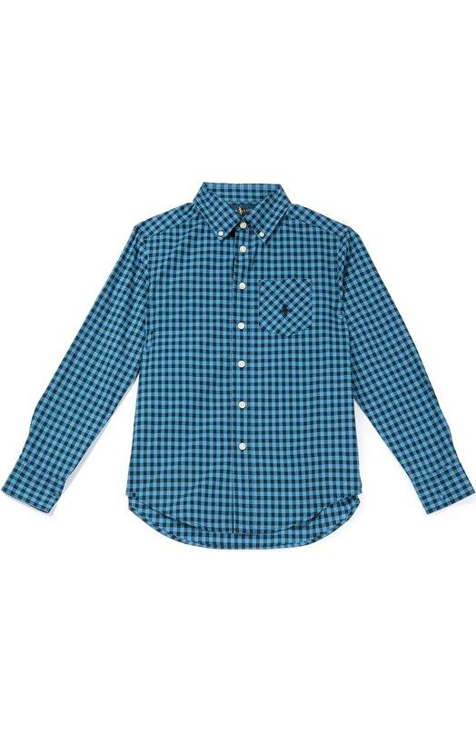 Хлопковая рубашка в клетку с воротником button down Polo Ralph LaurenРубашки<br>В осенне-зимнюю коллекцию 2016 года вошла рубашка с удлиненной спинкой. Модель с воротником button-down и длинными рукавами сшита из мягкого голубого поплина в клетку. Одежда с накладным карманом, украшенным вышивкой в виде эмблемы бренда, застегивается на белые пуговицы.<br><br>Размер Years: 12<br>Пол: Мужской<br>Возраст: Детский<br>Размер производителя vendor: 146-160cm<br>Материал: Хлопок: 100%;<br>Цвет: Голубой