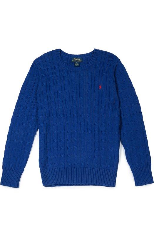 Хлопковый джемпер фактурной вязки Polo Ralph LaurenСвитеры<br>Для производства синего пуловера из осенне-зимней коллекции 2016 года была выбрана гладкая хлопковая пряжа. Модель с круглым вырезом и длинными рукавами украшена арановыми узорами. Такой рисунок традиционно украшает свитеры бренда.<br><br>Размер Years: 16<br>Пол: Мужской<br>Возраст: Детский<br>Размер производителя vendor: 164-170cm<br>Материал: Хлопок: 100%;<br>Цвет: Синий