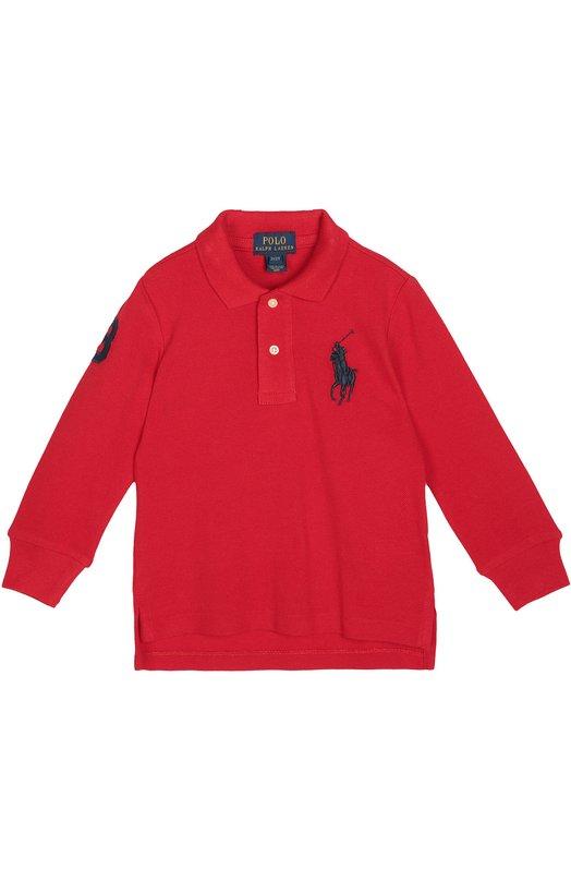 Хлопковое поло с длинными рукавами Polo Ralph LaurenПоло<br>Для производства поло из осенне-зимней коллекции 2016 года был использован мягкий хлопок пике красного цвета. Модель с удлиненной спинкой и длинными рукавами украшена эмблемой марки, вышитой ярко-красной нитью.<br><br>Размер Years: 3<br>Пол: Мужской<br>Возраст: Детский<br>Размер производителя vendor: 98-104cm<br>Материал: Хлопок: 100%;<br>Цвет: Красный