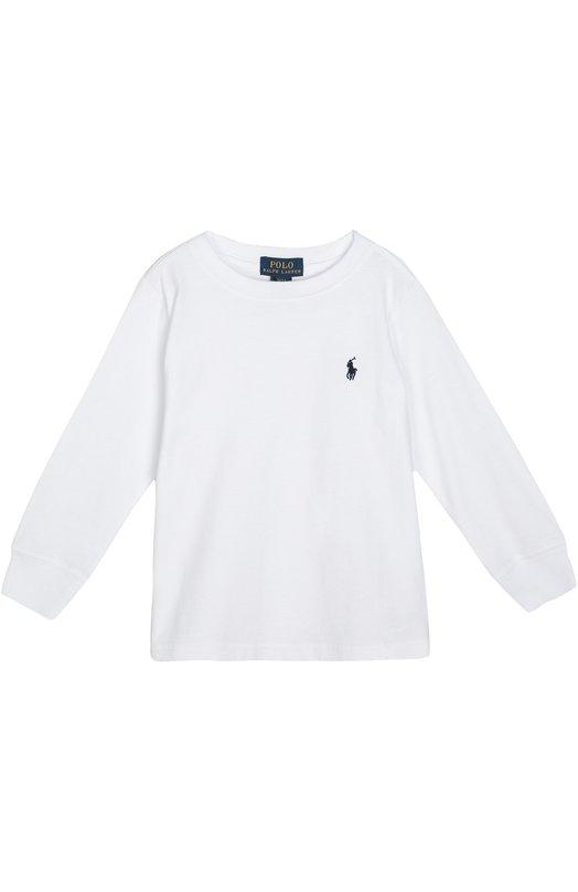 Хлопковый лонгслив с логотипом бренда Polo Ralph LaurenФутболки<br>Белый лонгслив из осенне-зимней коллекции 2016 года украшен вышивкой в виде эмблемы бренда. Для создания модели с круглым вырезом был использован мягкий хлопок. Длинные рукава дополнены эластичными манжетами.<br><br>Размер Months: 18<br>Пол: Мужской<br>Возраст: Детский<br>Размер производителя vendor: 86-92cm<br>Материал: Хлопок: 100%;<br>Цвет: Белый