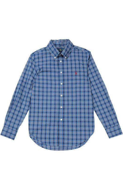 Хлопковая рубашка в клетку с воротником button down Polo Ralph LaurenРубашки<br>Синяя рубашка с воротником button-down и длинными рукавами вошла в осенне-зимнюю коллекцию 2016 года. Модель со слегка удлиненной спинкой произведена из гладкого плотного хлопка в клетку. На груди  – вышивка в виде эмблемы бренда.<br><br>Размер Years: 12<br>Пол: Мужской<br>Возраст: Детский<br>Размер производителя vendor: 146-160cm<br>Материал: Хлопок: 100%;<br>Цвет: Синий