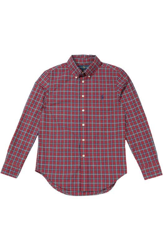 Хлопковая рубашка в клетку с воротником button down Polo Ralph LaurenРубашки<br>Для создания красной рубашки был выбран мягкий хлопок в клетку. Модель с воротником button-down, удлиненной спинкой и длинными рукавами украшена вышивкой в виде игрока в поло  – официальной эмблемы бренда, основанного Ральфом Лореном.<br><br>Размер Years: 10<br>Пол: Мужской<br>Возраст: Детский<br>Размер производителя vendor: 138-148cm<br>Материал: Хлопок: 100%;<br>Цвет: Красный