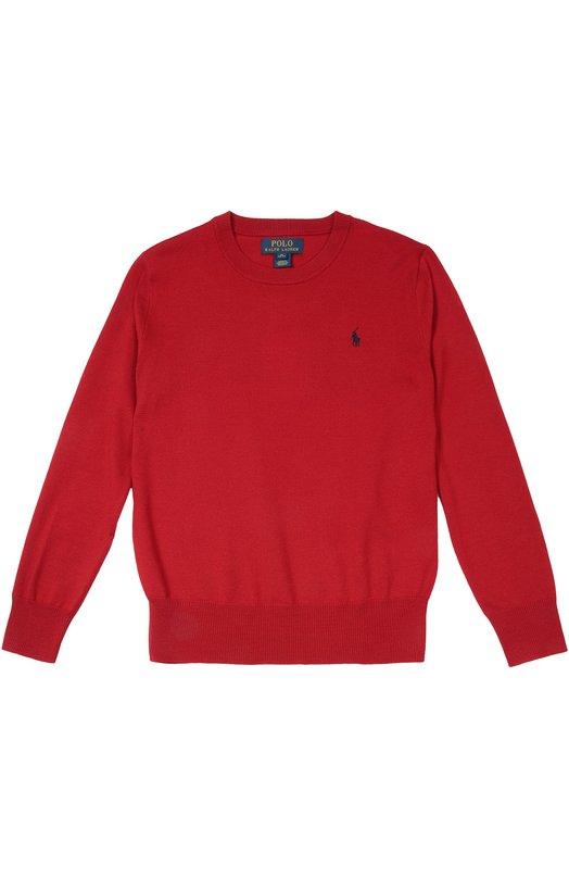 Шерстяной джемпер с логотипом бренда Polo Ralph LaurenСвитеры<br>Красный джемпер с V-образным вырезом вошел в осенне-зимнюю коллекцию 2016 года. Для производства модели была использована мягкая и гладкая шерсть мериноса. Длинные рукава и пояс связаны в технике английской резинки.<br><br>Размер Years: 8<br>Пол: Мужской<br>Возраст: Детский<br>Размер производителя vendor: 128-134cm<br>Материал: Шерсть: 100%;<br>Цвет: Красный