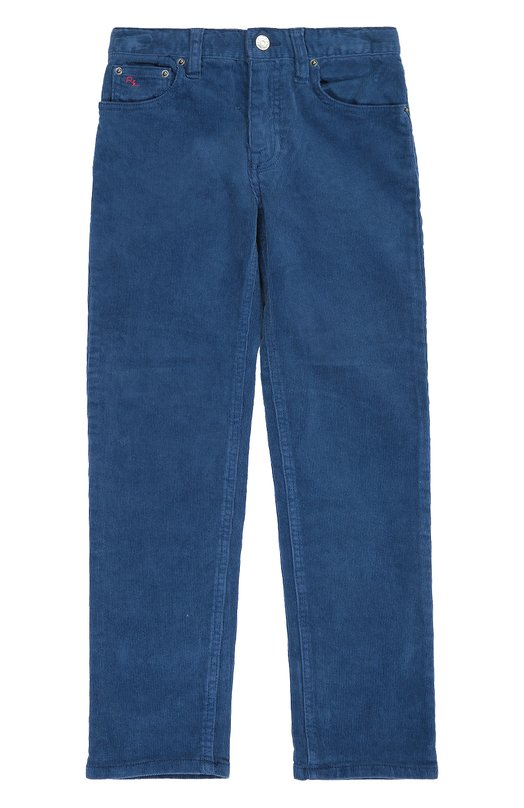 Брюки из вельвета прямого кроя Polo Ralph LaurenБрюки<br>Голубые зауженные брюки с пятью карманами вошли в коллекцию сезона осень-зима 2016 года. Модель изготовлена из мягкого вельвета с добавлением эластичных волокон, поэтому одежда меньше вытягивается на коленях.<br><br>Размер Years: 7<br>Пол: Мужской<br>Возраст: Детский<br>Размер производителя vendor: 122-128cm<br>Материал: Хлопок: 98%; Эластан: 2%;<br>Цвет: Голубой