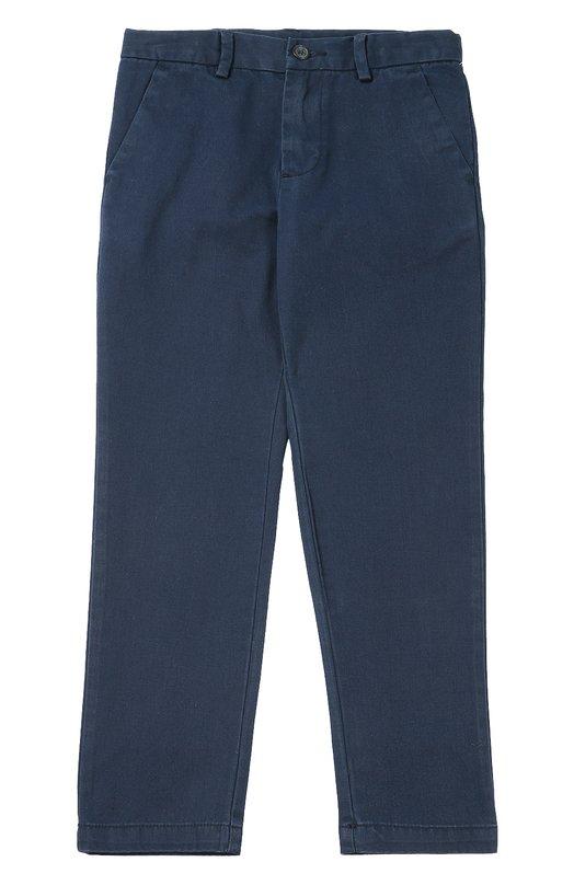 Хлопковые брюки прямого кроя Polo Ralph LaurenБрюки<br>Синие брюки сшиты мастерами марки из очень мягкого хлопка. Чиносы с двумя боковыми и двумя задними прорезными карманами вошли в осенне-зимнюю коллекцию 2016 года. Над задним правым карманом — красная вышивка в виде игрока в поло, впервые использованная Ральфом Лореном для декора в 1967 году.<br><br>Размер Years: 7<br>Пол: Мужской<br>Возраст: Детский<br>Размер производителя vendor: 122-128cm<br>Материал: Хлопок: 100%;<br>Цвет: Синий