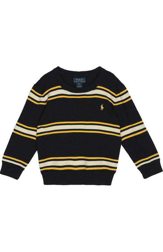 Хлопковый джемпер в полоску Polo Ralph LaurenСвитеры<br>Темно-синий джемпер в желтую и белую горизонтальные полоски вошел в коллекцию сезона осень-зима 2016 года. Ральф Лорен выбрал для создания модели с круглым вырезом и длинным рукавами мягкий хлопок, для манжет, пояса и канта — эластичный трикотаж. На груди — желтая вышивка в виде игрока в поло.<br><br>Размер Years: 3<br>Пол: Мужской<br>Возраст: Детский<br>Размер производителя vendor: 98-104cm<br>Материал: Хлопок: 100%;<br>Цвет: Темно-синий