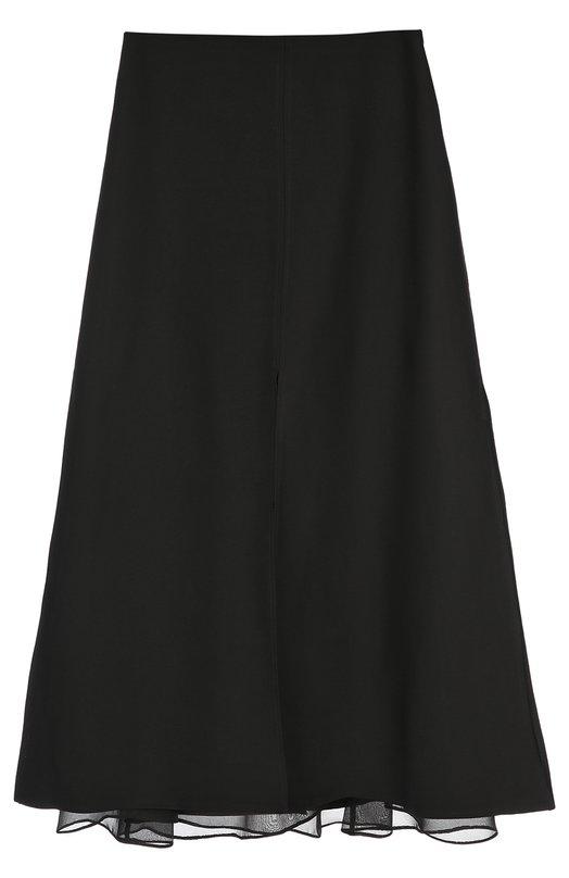 Юбка-миди с прозрачной вставкой Dorothee SchumacherЮбки<br>Доротея Шумахер включила двухслойную черную юбку средней длины, с высоким разрезом на одном из слоев в осенне-зимнюю коллекцию 2016 года. Верхний слой выполнен из мягкой полушерстяной ткани, нижний – из прозрачного тюля. Попробуйте сочетать с серой футболкой и темными ботильонами.<br><br>Российский размер RU: 40<br>Пол: Женский<br>Возраст: Взрослый<br>Размер производителя vendor: 1<br>Материал: Вискоза: 50%; Шерсть: 40%; Полиэстер: 100%; Шелк: 10%;<br>Цвет: Черный