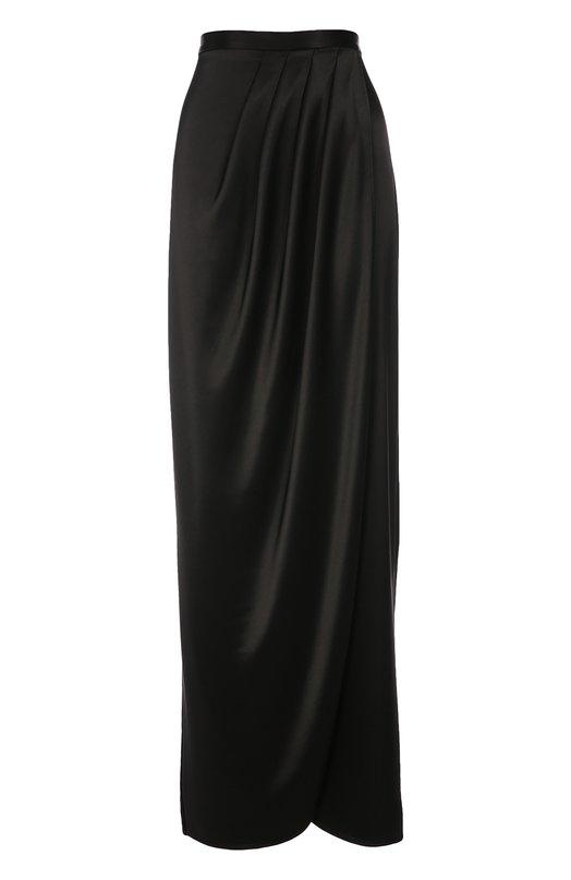 Макси-юбка асимметричного кроя с защипами St. JohnЮбки<br>Длинная черная юбка с драпировкой на поясе вошла в осенне-зимнюю коллекцию 2016 года. Для создания вечерней модели с запахом использован мягкий струящийся атлас. Изделие застегивается сзади на потайную молнию. Попробуйте носить с блузой в тон, золотистым клатчем и темными босоножками.<br><br>Российский размер RU: 46<br>Пол: Женский<br>Возраст: Взрослый<br>Размер производителя vendor: 8<br>Материал: Триацетат: 78%; Полиэстер: 22%;<br>Цвет: Черный