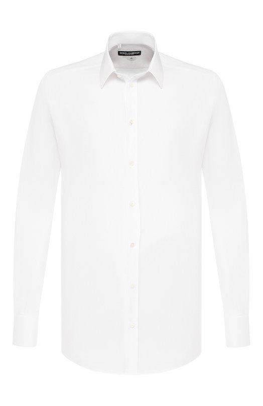 Хлопковая сорочка с итальянским воротником Dolce &amp; GabbanaРубашки<br>Приталенная белая рубашка с длинными рукавами и воротником кент вошла в коллекцию сезона осень-зима 2016 года. Модель сшита из тонкого хлопка поплина с шелковистым блеском. Такая ткань почти не мнется. Чтобы ее погладить, можно использовать даже дорожный утюг небольшой мощности.<br><br>Российский размер RU: 44<br>Пол: Мужской<br>Возраст: Взрослый<br>Размер производителя vendor: 44<br>Материал: Хлопок: 97%; Эластан: 3%;<br>Цвет: Белый