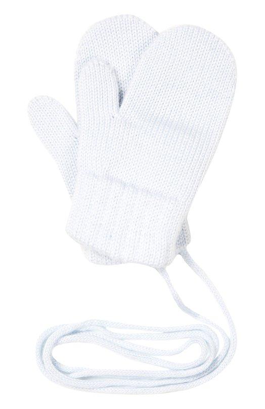 Варежки из шерсти меринос CatyaАксессуары<br>Мастера бренда изготовили голубые варежки на шнурке из мягкой, приятной на ощупь шерсти мериноса. Она хорошо пропускает воздух и сохраняет тепло, поэтому руки не вспотеют. Модель с плотными манжетами, связанными в технике резинка, вошла в коллекцию сезона осень-зима 2016 года.<br><br>Размер Months: 5<br>Пол: Женский<br>Возраст: Для малышей<br>Размер производителя vendor: V<br>Материал: Шерсть меринос: 100%;<br>Цвет: Голубой