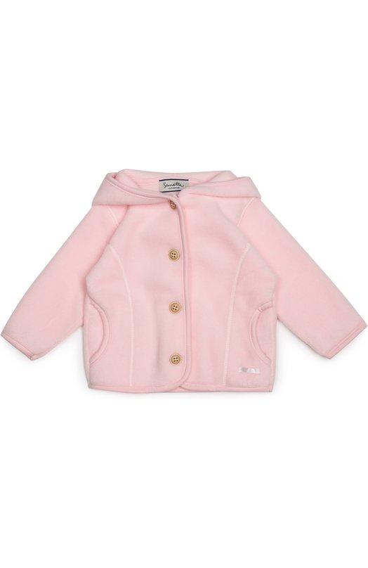 Кардиган джерси с капюшоном SanettaОдежда<br>Кардиган с двумя боковыми карманами и капюшоном сшит из мягкого, приятного на ощупь флиса розового цвета, кант — из трикотажа в тон. Ворсистый материал хорошо сохраняет тепло, поэтому изделие можно использовать как утеплитель для тонкой куртки. Модель вошла в коллекцию сезона осень-зима 2016 года.<br><br>Размер Months: 3<br>Пол: Женский<br>Возраст: Для малышей<br>Размер производителя vendor: 62-68cm<br>Материал: Полиэстер: 65%; Хлопок: 35%;<br>Цвет: Розовый
