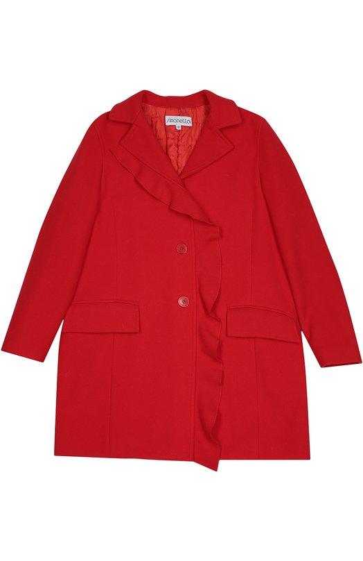 Пальто с оборкой и карманами SimonettaВерхняя одежда<br>Красное однобортное пальто из осенне-зимней коллекции 2016 года декорировано оборкой вдоль планки. Для изготовления модели прямого кроя, с двумя карманами и длинными рукавами использована мягкая ткань из шерсти с добавлением кашемира.<br><br>Размер Years: 10<br>Пол: Женский<br>Возраст: Детский<br>Размер производителя vendor: 140-146cm<br>Материал: Шерсть: 70%; Подкладка-ацетат: 64%; Кашемир: 5%; Подкладка-купра: 36%; Полиамид: 25%;<br>Цвет: Красный