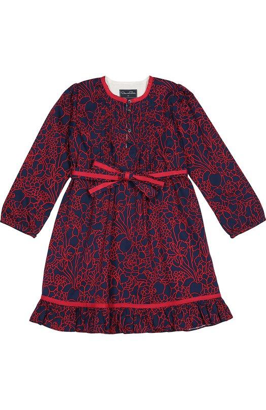 Платье с длинным рукавом и ярким принтом Oscar de la RentaПлатья<br>В коллекцию сезона осень-зима 2016 года вошло платье из тонкого темно-синего хлопка с цветочным принтом красного цвета. Круглый вырез, ремень и расклешенный подол с воланами дополнены тонкой тесьмой в тон узору. Модель с длинными рукавами застегивается спереди на пять пуговиц.<br><br>Размер Years: 10<br>Пол: Женский<br>Возраст: Детский<br>Размер производителя vendor: 140-146cm<br>Материал: Подкладка-хлопок: 60%; Подкладка-вискоза: 40%; Хлопок: 100%;<br>Цвет: Синий