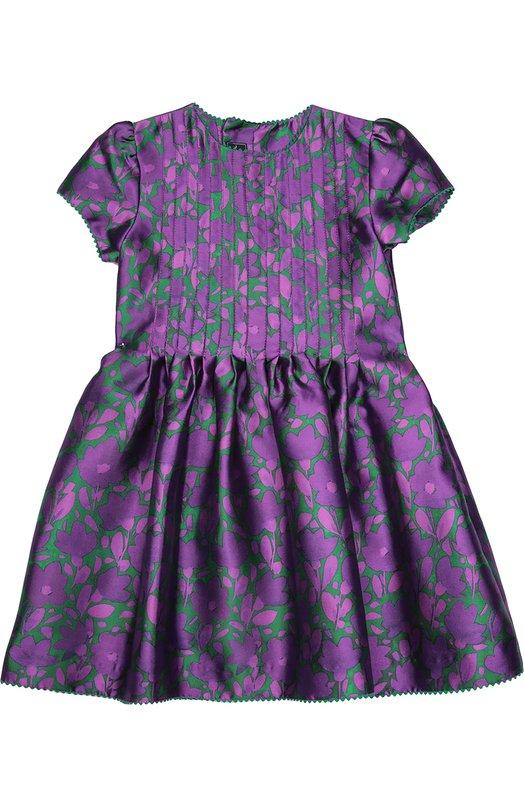 Платье с цветочным принтом и коротким рукавом Oscar de la RentaПлатья<br>Платье из фактурного шелка микадо с фиолетово-зеленым растительным принтом вошло в осенне-зимнюю коллекцию 2016 года. Лицевая сторона украшена прошитыми складками. Края украшены фигурной тесьмой. Модель застегивается сзади на четыре пуговицы.<br><br>Размер Years: 8<br>Пол: Женский<br>Возраст: Детский<br>Размер производителя vendor: 128-134cm<br>Материал: Подкладка-хлопок: 60%; Шелк: 55%; Хлопок: 45%; Подкладка-вискоза: 40%;<br>Цвет: Фиолетовый