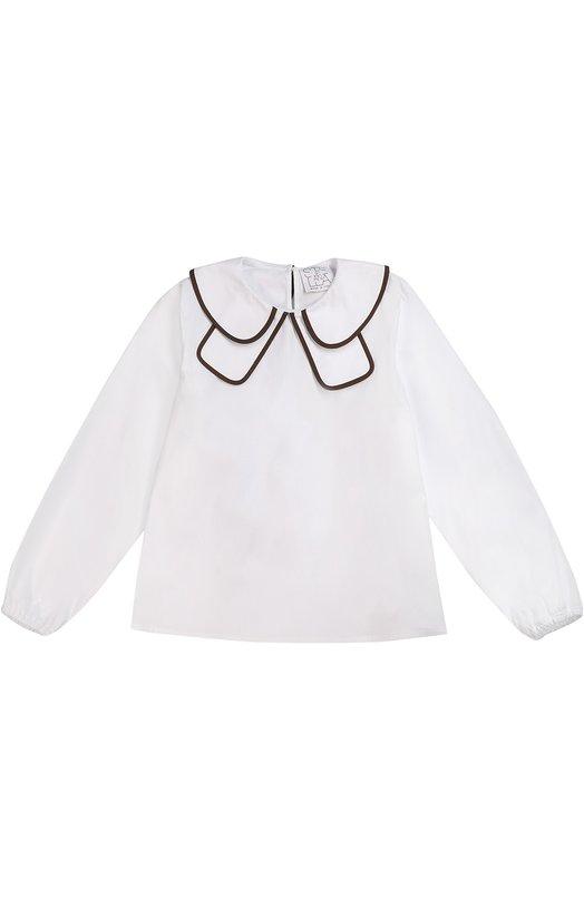 Блуза с контрастной отделкой Stella JeanБлузы<br>В осенне-зимнюю коллекцию 2016 года вошла белоснежная блуза из фактурного хлопка с добавлением эластановых волокон для прочности. Края отложного воротника отделаны коричневым кантом. В манжеты длинных рукавов вшита мягкая резинка, которая не перетягивает запястье.<br><br>Размер Years: 10<br>Пол: Женский<br>Возраст: Детский<br>Размер производителя vendor: 140-146cm<br>Материал: Хлопок: 96%; Эластан: 4%;<br>Цвет: Белый