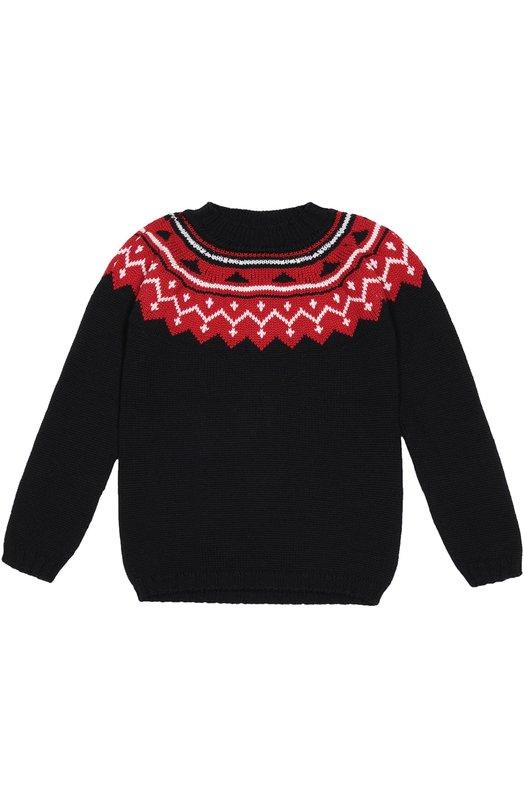 Пуловер с контрастной отделкой Oscar de la RentaСвитеры<br>Синий свитер с длинными рукавами связан из очень мягкой, шелковистой пряжи на основе шерсти мериноса. Вокруг горловины — широкий контрастный узор. Модель вошла в коллекцию сезона осень-зима 2016 года.<br><br>Размер Years: 12<br>Пол: Женский<br>Возраст: Детский<br>Размер производителя vendor: 146-152cm<br>Материал: Шерсть меринос: 100%;<br>Цвет: Синий