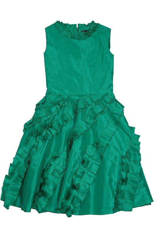 Приталенное платье с декоративной отделкой Oscar de la RentaПлатья<br>Приталенное зеленое платье без рукавов сшито из гладкого мягкого шелка. Расклешенный подол и круглый вырез украшены рюшами. Модель, застегивающаяся сзади на молнию, вошла в коллекцию сезона осень-зима 2016 года.<br><br>Размер Years: 8<br>Пол: Женский<br>Возраст: Детский<br>Размер производителя vendor: 128-134cm<br>Материал: Шелк: 100%; Подкладка-ацетат: 100%;<br>Цвет: Зеленый