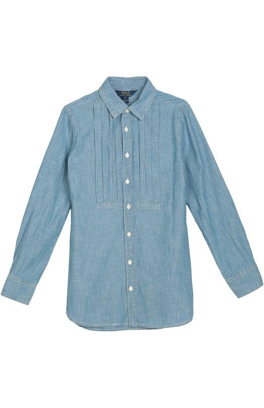 Джинсовая блуза с планкой Polo Ralph LaurenБлузы<br>Голубая джинсовая рубашка с длинными рукавами и отложным воротником сшита из тонкого, почти не мнущегося мягкого хлопка. Модель прямого кроя, с плиссированной широкой манишкой вошла в коллекцию сезона осень-зима 2016 года.<br><br>Размер Years: 9<br>Пол: Женский<br>Возраст: Детский<br>Размер производителя vendor: 134-140cm<br>Материал: Хлопок: 100%;<br>Цвет: Голубой