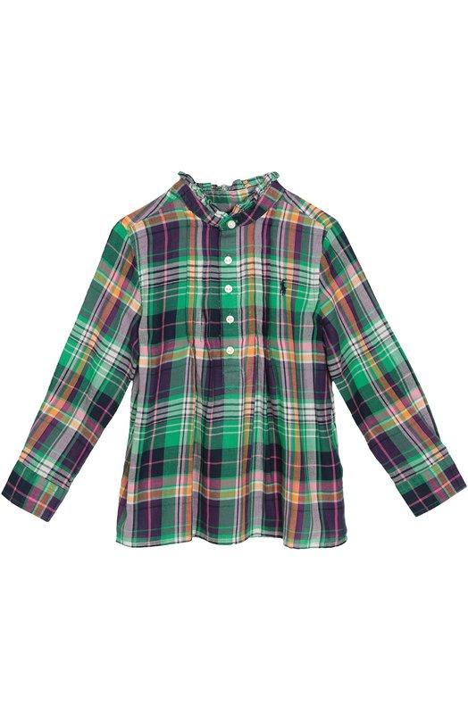 Блуза свободного кроя в клетку Polo Ralph LaurenБлузы<br>Разноцветная клетчатая блуза с длинными рукавами сшита из приятной на ощупь тонкой хлопковой саржи. Воротник-стойка отделан рюшами. Модель свободного кроя, со складками спереди вошла в коллекцию сезона осень-зима 2016 года.<br><br>Размер Years: 2<br>Пол: Женский<br>Возраст: Детский<br>Размер производителя vendor: 92-98cm<br>Материал: Хлопок: 100%;<br>Цвет: Разноцветный
