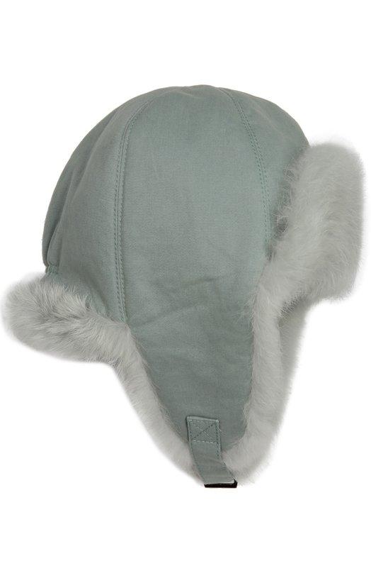 Шапка-ушанка с внутренней отделкой из меха кролика Yves Salomon Enfant 7WEA008XXC0LL