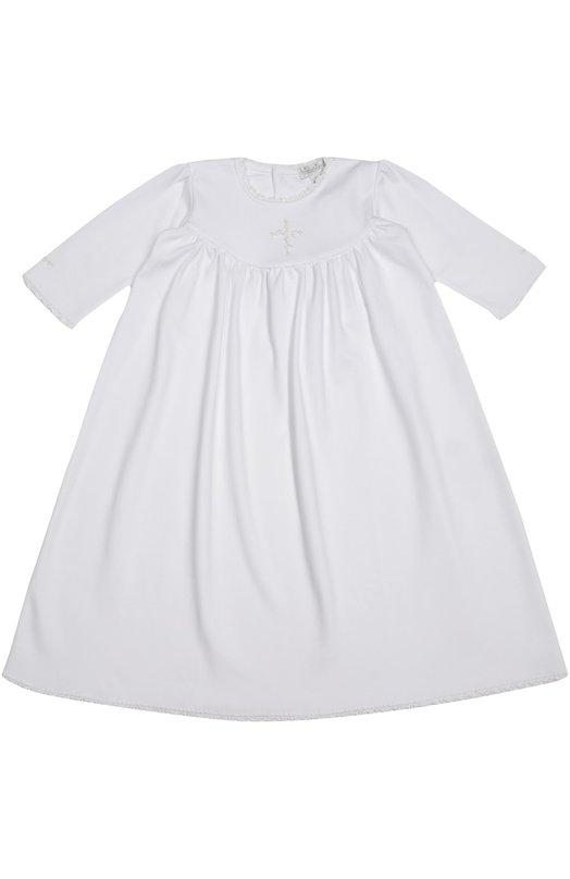 Платье из хлопка с вышивкой Kissy KissyОдежда<br>Дизайнеры марки включили в осенне-зимнюю коллекцию 2016 года белое платье с круглой горловиной, украшенной узким кружевным кантом. Для пошива изделия использован мягкий текстиль из перуанского хлопка пима, который прочнее и мягче обычного. На груди - объемная цветочная вышивка в тон.<br><br>Размер Months: 3<br>Пол: Женский<br>Возраст: Для малышей<br>Размер производителя vendor: 56-62cm<br>Материал: Хлопок: 100%;<br>Цвет: Белый