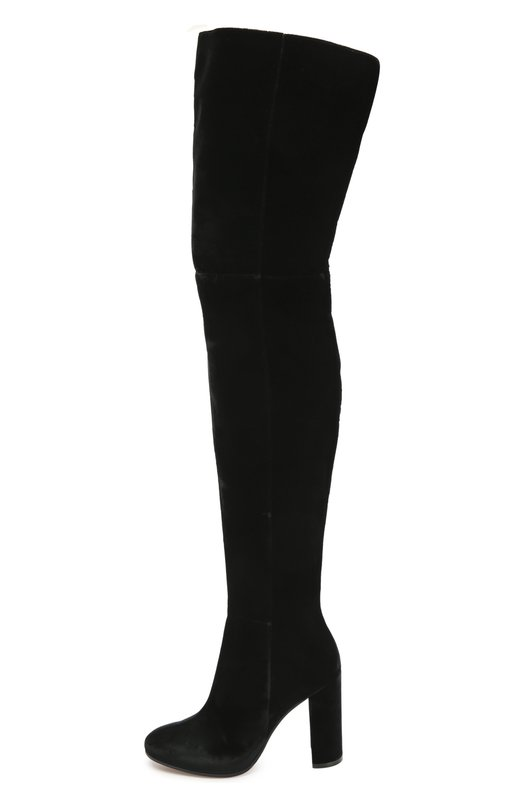 Текстильные ботильоны на устойчивом каблуке Gianvito RossiСапоги<br>Джанвито Росси включил черные ботфорты в коллекцию сезона осень-зима 2016 года. Для изготовления модели на высоком устойчивом каблуке мастера марки использовали мягкий бархат. Обувь застегивается на короткую молнию с внутренней стороны.<br><br>Российский размер RU: 39<br>Пол: Женский<br>Возраст: Взрослый<br>Размер производителя vendor: 39<br>Материал: Стелька-кожа: 100%; Подошва-кожа: 100%; Текстиль: 100%;<br>Цвет: Черный