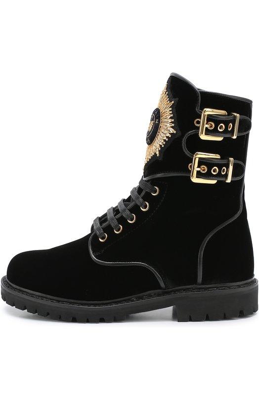 Текстильные ботинки с нашивкой и пряжками Balmain W6CBH020304B