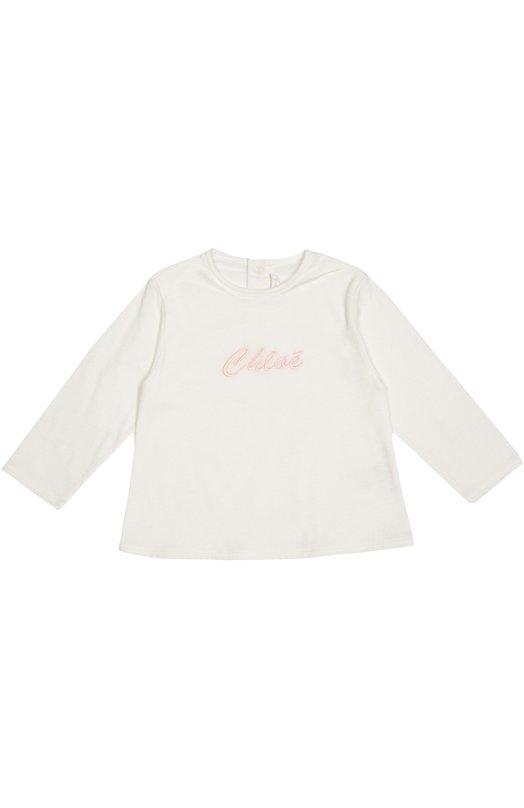 Футболка джерси с вышивкой Chlo?Одежда<br>Дизайнеры бренда включили белую футболку с длинными рукавами в осенне-зимнюю коллекцию 2016 года. Модель, застегивающаяся на три кнопки сзади, сшита из мягкого и дышащего материала с добавлением хлопковых нитей. Спереди вышит логотип бренда.<br><br>Размер Months: 9<br>Пол: Женский<br>Возраст: Для малышей<br>Размер производителя vendor: 74-80cm<br>Материал: Вискоза: 6%; Полиэстер: 50%; Хлопок: 44%;<br>Цвет: Белый