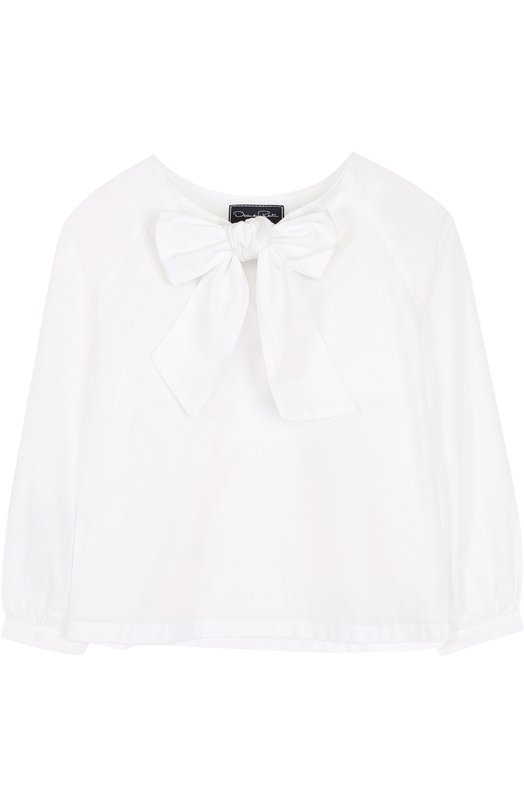 Хлопковая блуза с бантом Oscar de la Renta 02C701