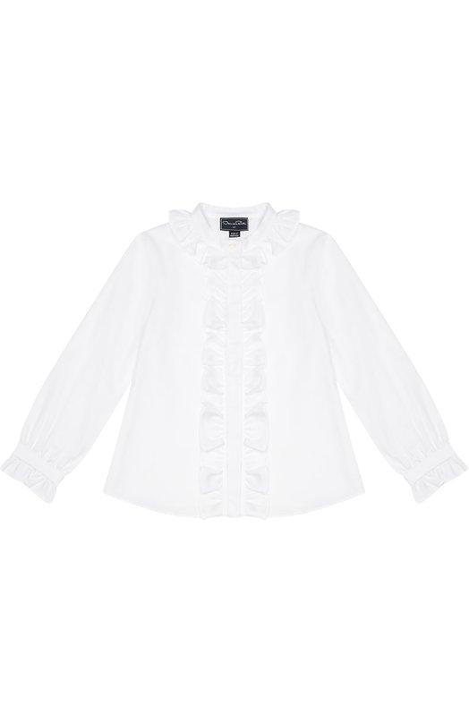 Хлопковая блуза с рюшами Oscar de la Renta 02C745