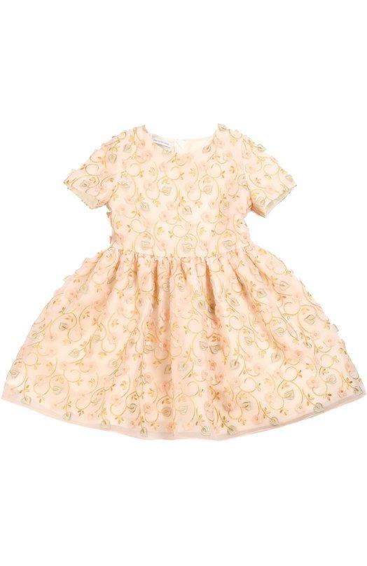 Приталенное платье с цветочной вышивкой I Pinco Pallino 1602101003/2-6