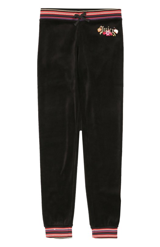 Спортивные велюровые брюки с контрастной отделкой Juicy CoutureСпорт<br>Черные брюки с контрастной вышивкой в виде цветов и логотипа бренда вошли в коллекцию сезона осень-зима 2016 года. Модель выполнена из мягкого бархатистого велюра с добавлением эластичных нитей. Пояс и манжеты изготовлены из гладкого матового материала в разноцветную полоску.<br><br>Размер Years: 8<br>Пол: Женский<br>Возраст: Детский<br>Размер производителя vendor: 128-134cm<br>Материал: Хлопок: 78%; Полиэстер: 22%;<br>Цвет: Черный