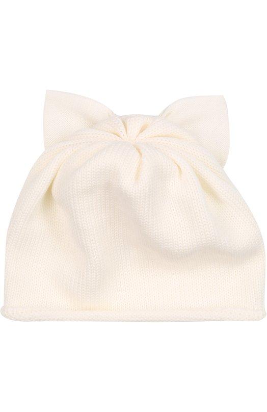 Шерстяная шапка с бантом CatyaГоловные уборы<br>Мастера бренда связали шапку белого цвета вручную из эластичной, не раздражающей кожу шерсти мериноса. Она хорошо сохраняет тепло и пропускает воздух, поэтому голова не вспотеет. Аксессуар из коллекции сезона осень-зима 2016 года дополнен бантом со стразами.<br><br>Пол: Женский<br>Возраст: Детский<br>Размер производителя vendor: II<br>Материал: Шерсть меринос: 100%;<br>Цвет: Белый