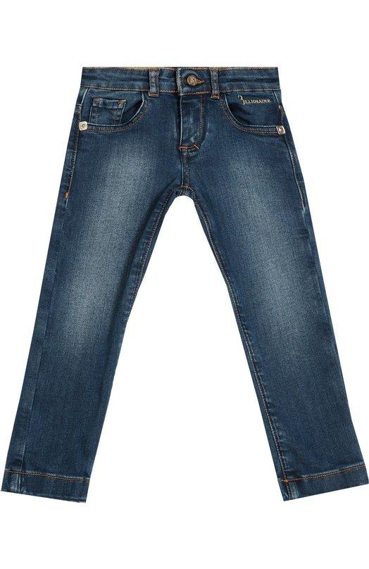 Джинсы с потертостями и вышивкой BillionaireДжинсы<br>Синие зауженные джинсы произведены из плотного хлопка с добавлением эластичных волокон, придающих ткани дополнительную прочность. Модель из осенне-зимней коллекции 2016 года украшены потертостями в области бедер, коленей и ягодиц, а также вышивкой.<br><br>Размер Years: 2<br>Пол: Мужской<br>Возраст: Детский<br>Размер производителя vendor: 92-98cm<br>Материал: Хлопок: 98%; Эластан: 2%;<br>Цвет: Синий