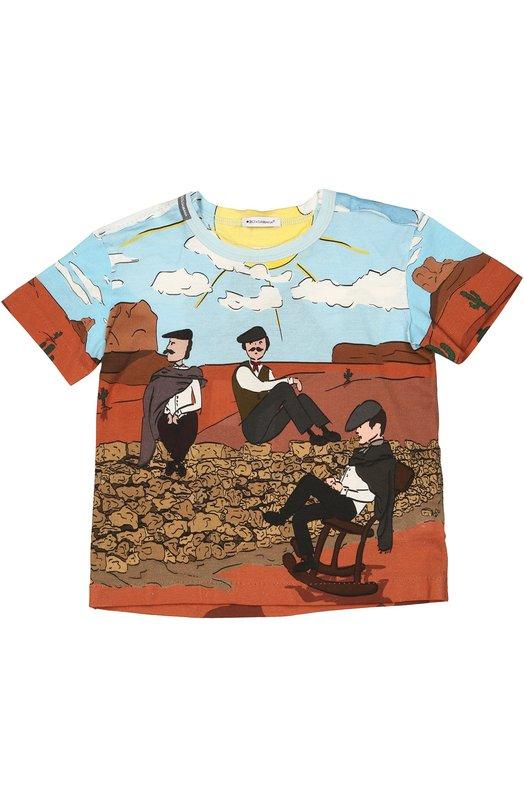 Хлопковая футболка с принтом Dolce & Gabbana 0131/L4JT3W/G7IZM/2-6
