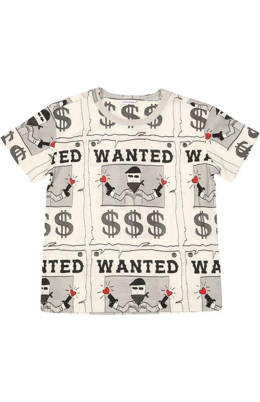 Хлопковая футболка с принтом Dolce &amp; GabbanaФутболки<br>Одним из основных мотивов коллекции сезона осень-зима 2016 года стали рисунки с сюжетами из жизни ковбоев. Подобный рисунок с надписью «Wanted» украшает футболку c короткими рукавами. Модель с необработанным круглым вырезом произведена из мягкого хлопка джерси.<br><br>Размер Years: 5<br>Пол: Мужской<br>Возраст: Детский<br>Размер производителя vendor: 110-116cm<br>Материал: Хлопок: 100%;<br>Цвет: Разноцветный