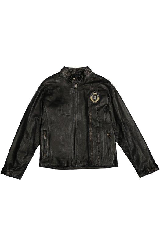 Кожаная куртка на молнии с воротником-стойкой Billionaire BI1279/7-12
