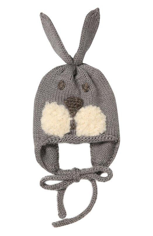 Шапка из шерсти мериноса с вышивкой CatyaАксессуары<br>В осенне-зимнюю коллекцию 2016 года вошла серая шапка. На лицевой стороне вышита мордочка зайца, на макушке пришиты длинные уши. Модель из мягкой шерсти мериноса, хорошо сохраняющей тепло и пропускающей воздух, завязывается под подбородком.<br><br>Размер Months: 12<br>Пол: Женский<br>Возраст: Для малышей<br>Размер производителя vendor: V<br>Материал: Шерсть меринос: 100%;<br>Цвет: Серый