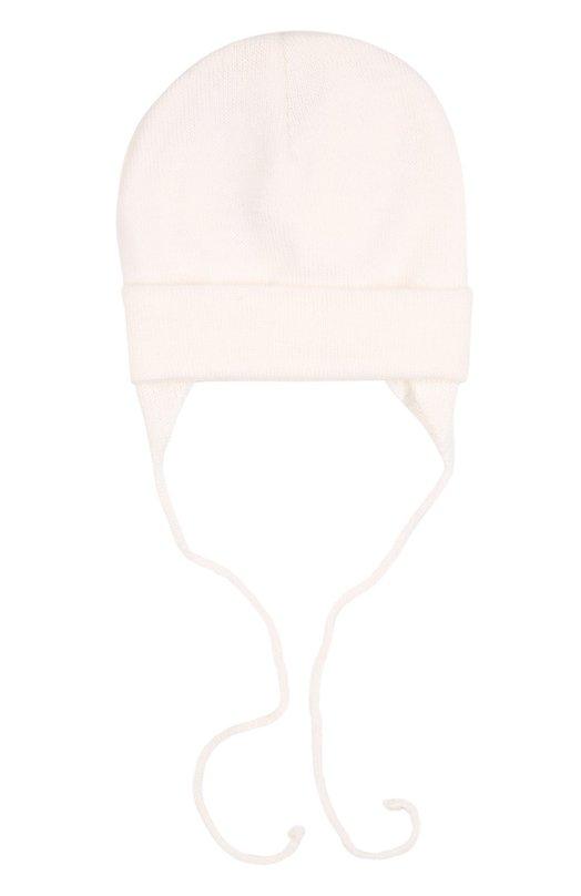 Шерстяная вязаная шапка Il TreninoАксессуары<br>В осенне-зимнюю коллекцию 2016 года вошла шапка из ультрамягкой шерстяной пряжи белого цвета. Модель, дополненная отворотом, плотно облегает голову. Боковые вставки защищают уши от холода и ветра. Аксессуар завязывается под подбородком.<br><br>Размер Months: 3-9<br>Пол: Женский<br>Возраст: Для малышей<br>Размер производителя vendor: II<br>Материал: Шерсть: 100%;<br>Цвет: Белый