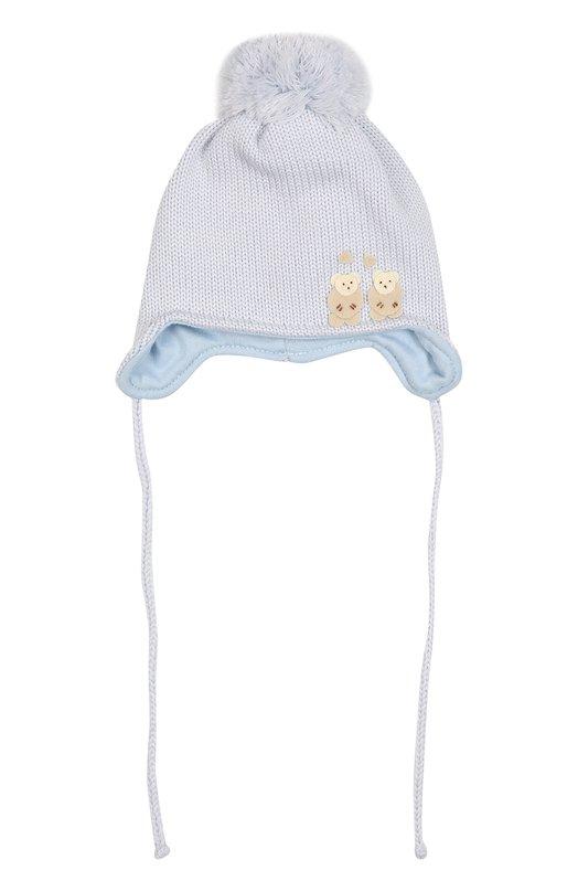 Шерстяная шапка с помпоном и аппликацией Il TreninoАксессуары<br><br><br>Размер Months: 3-9<br>Пол: Женский<br>Возраст: Для малышей<br>Размер производителя vendor: II<br>Материал: Шерсть: 100%; Подкладка-хлопок: 100%;<br>Цвет: Голубой