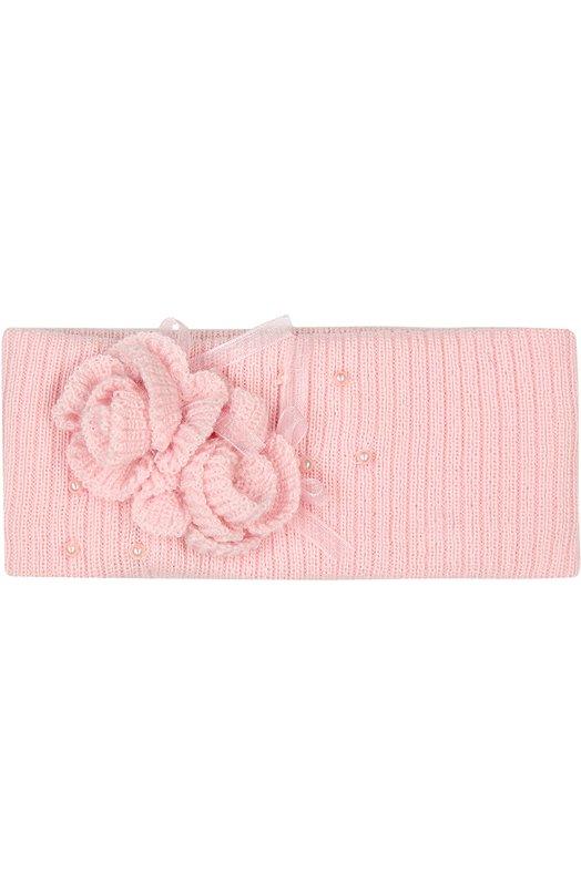 Шерстяная повязка на голову с объемным декором Il TreninoАксессуары<br><br><br>Размер Months: 3-9<br>Пол: Женский<br>Возраст: Для малышей<br>Размер производителя vendor: II<br>Материал: Шерсть: 100%;<br>Цвет: Розовый