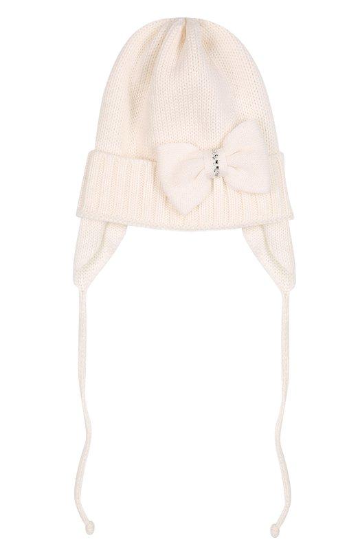 Шерстяная шапка с бантом Il TreninoАксессуары<br>Белая шапка с широким отворотом связана из мягкой шерстяной пряжи. Дизайнеры марки украсили изделие крупным бантом со стразами. Аксессуар завязывается шнурками, которые пришиты к широким боковым панелям, защищающим уши от ветра и холода. Модель вошла в коллекцию сезона осень-зима 2016 года.<br><br>Размер Months: 0-3<br>Пол: Женский<br>Возраст: Для малышей<br>Размер производителя vendor: I<br>Материал: Шерсть: 100%;<br>Цвет: Белый