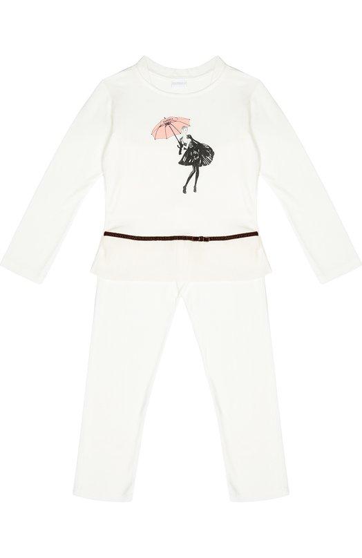 Пижама с контрастным принтом La PerlaБельё<br>Дизайнеры марки включили в коллекцию сезона осень-зима 2016 года пижаму кремового цвета. Топ с принтом в виде девушки с зонтом и брюки с широкой трикотажной резинкой сшиты из мягкого эластичного материала. Отделка ? из коричневого бархата.<br><br>Размер Years: 5<br>Пол: Женский<br>Возраст: Детский<br>Размер производителя vendor: 110-116cm<br>Материал: Вискоза: 85%; Полиэстер: 5%; Эластан: 10%;<br>Цвет: Кремовый