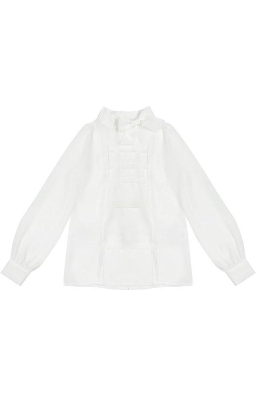 Блуза с воротником аскот и кружевной отделкой Ermanno ScervinoБлузы<br>Белоснежная блуза с длинными рукавами и воротником с бантом вошла в коллекцию сезона осень-зима 2016 года. Модель прямого кроя, сшитая из приятного на ощупь тонкого текстиля, украшена спереди ажурным кружевом в тон. Изделие застегивается сзади на пуговицы.<br><br>Размер Years: 12<br>Пол: Женский<br>Возраст: Детский<br>Размер производителя vendor: 146-152cm<br>Материал: Отделка-хлопок: 95%; Отделка-полиамид: 5%; Полиэстер: 100%;<br>Цвет: Белый