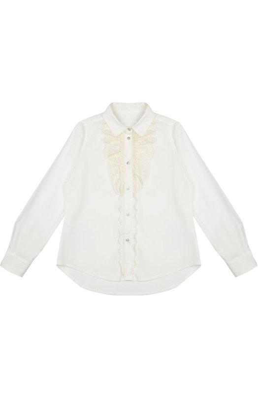 Хлопковая блуза с кружевной отделкой Ermanno ScervinoБлузы<br>В коллекцию сезона осень-зима 2016 года вошла белая блуза прямого кроя, с длинными рукавами и отложным воротником. Модель из эластичного тонкого хлопка застегивается на серебристые пуговицы. Планка украшена жабо из ажурного кружева в тон.<br><br>Размер Years: 12<br>Пол: Женский<br>Возраст: Детский<br>Размер производителя vendor: 146-152cm<br>Материал: Хлопок: 97%; Отделка-хлопок: 9%; Отделка-полиэстер: 9%; Отделка-полиамид: 30%; Эластан: 3%; Отделка-акрил: 27%; Отделка-шерсть: 25%;<br>Цвет: Белый