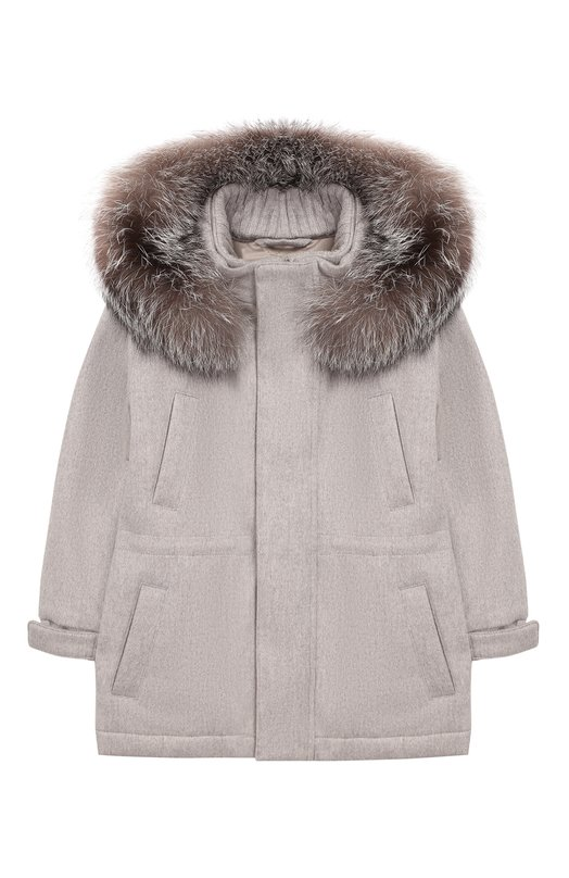 Кашемировая куртка с меховой отделкой капюшона Loro Piana FAF8661