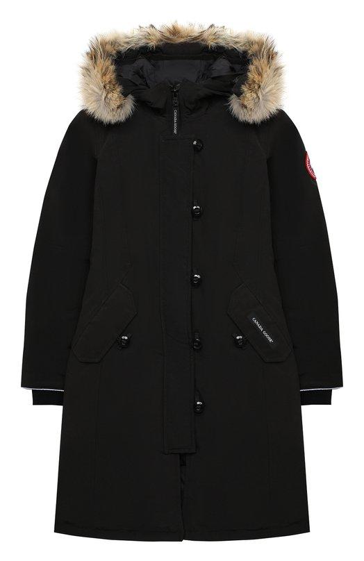 Купить Пуховая парка Brittania с меховой отделкой капюшона Canada Goose, 4593Y, Канада, Черный, Полиэстер: 85%; Хлопок: 15%; Подкладка-нейлон: 100%; Отделка мех нат.: 100%; Пух утиный: 100%;