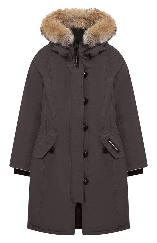 Купить Пуховая парка Brittania с меховой отделкой капюшона Canada Goose, 4593Y, Канада, Серый, Полиэстер: 85%; Хлопок: 15%; Подкладка-нейлон: 100%; Отделка мех нат.: 100%; Пух утиный: 100%;