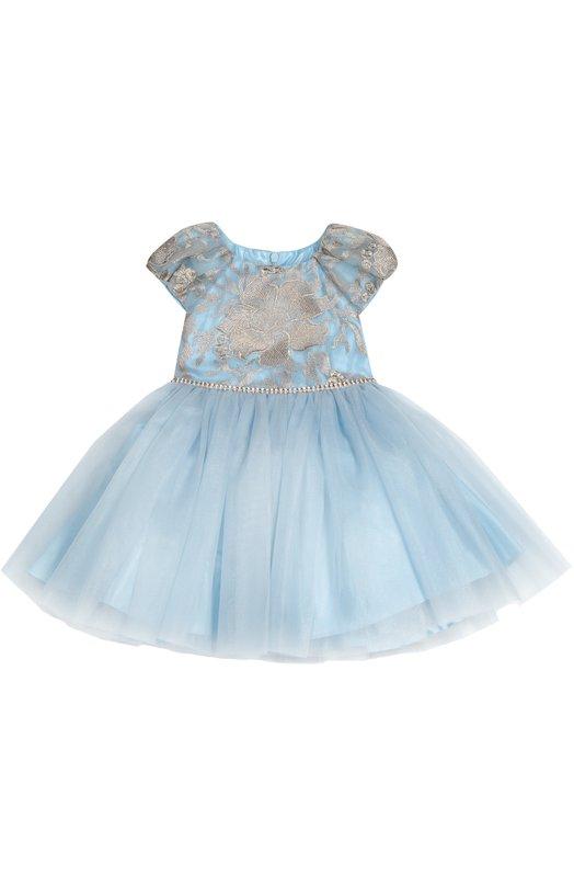 Платье с пышной юбкой и контрастной вышивкой David CharlesПлатья<br>Дизайнеры бренда включили нарядное голубое платье с короткими рукавами-фонариками в осенне-зимнюю коллекцию 2016 года. Лиф выполнен из плотного блестящего материала, вышитого вручную. Многослойный пышный подол сшит из полупрозрачного тюля. Пояс украшен белыми бусинами и стразами.<br><br>Размер Years: 6<br>Пол: Женский<br>Возраст: Детский<br>Размер производителя vendor: 116-122cm<br>Материал: Полиэстер: 100%; Подкладка-ацетат: 100%;<br>Цвет: Голубой