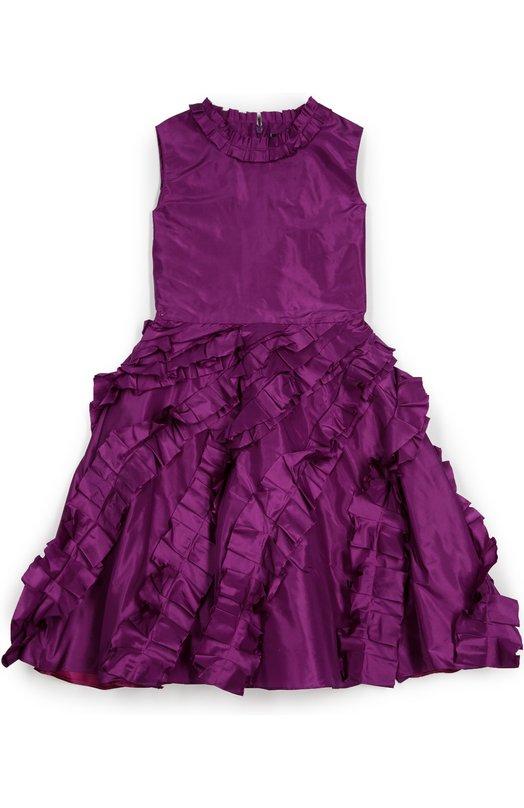 Приталенное платье с декоративной отделкой Oscar de la RentaПлатья<br>Фиолетовое нарядное платье без рукавов сшито из мягкого гладкого шелка с матовым блеском. Модель из коллекции сезона осень-зима 2016 года застегивается на молнию сзади. Расклешенный подол украшен оборками. Такой же декор использован для канта горловины.<br><br>Размер Years: 10<br>Пол: Женский<br>Возраст: Детский<br>Размер производителя vendor: 140-146cm<br>Материал: Шелк: 100%; Подкладка-ацетат: 100%;<br>Цвет: Фиолетовый